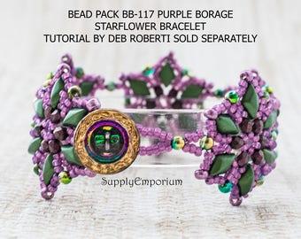 Bead Pack BB-117 Purple Borage, Starflower Bracelet Tutorial Available Separately, BB117 Starflower Bracelet