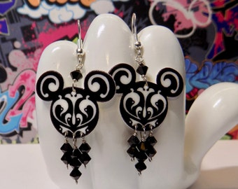 Mickey Mouse Black and White Swirled Dangle Earrings