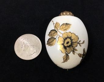 Perfume Pomander Pendant with Gold Flower Design, Vintage Ceramic Air Freshener