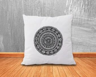 Mandala pillow-mandala pillow cover-yoga pillow-home decor-pillow-decorative pillow-custom pillow-boho pillow-hippie-NATURA PICTA-NPCP007