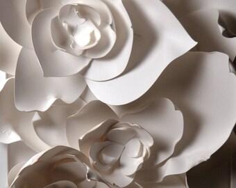 """8x10"""" White Petals Flower Fine Art Photo Print, paper sculpture"""