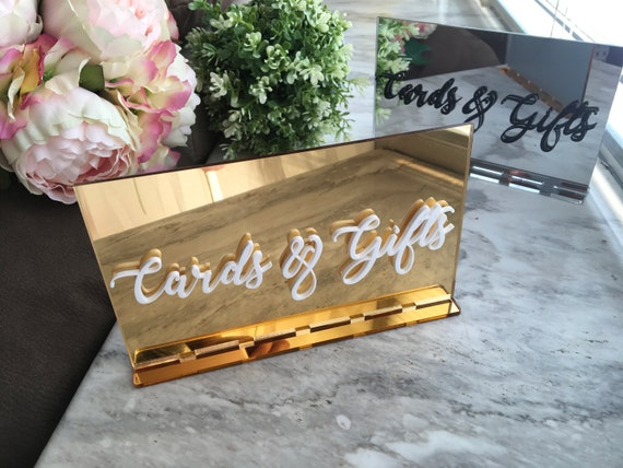 Cards and Gifts Table Sign Gold Mirror Acrylic Wedding signs Cards & Gifts Alternative Centerpiece Freestanding Decor Reception Calligraphy