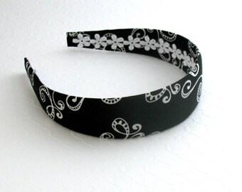 Women's / Adult Fabric Headband ~ Fabric Covered Wide Plastic Black and White Fashion Headband