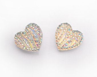Heart Earrings with Iridescent Crystals (Large) - Valentine Heart Earrings - Wedding Bridesmaid Earrings