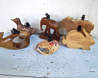 Handmade Redesign Reimagined Wooden Animal Table Cloth Weights Set of Six Home and Living Indoor Outdoor Table Decorations Picnic Weights