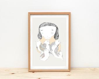 Girl and birds art print, illustration by depeapa, girl portrait, A4 wall art, birds poster, wall decor, home decor