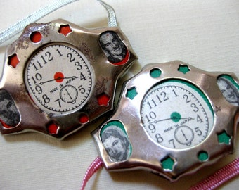 Vintage Tin Watch with Celebrity Photos (1), Japan