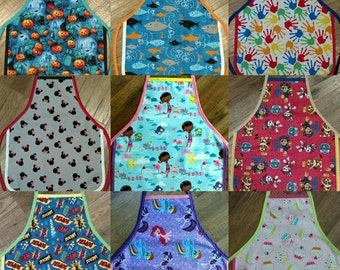 Children's Aprons, great for helping keep clothes clean when crafting, baking, carving pumpkins, etc.