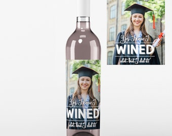 4 Photo Graduation Wine Labels • Personalized Graduation Wine Label - Add Your Picture - Class of 2018 - I Wined - Custom Color