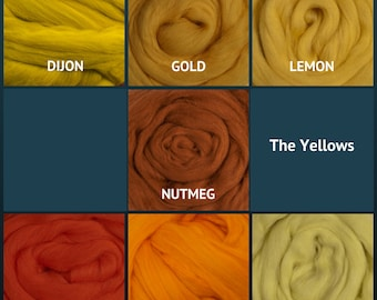 Merino Wool Roving - Felting Fiber - Spinning Fiber - The Yellows - sold by the ounce