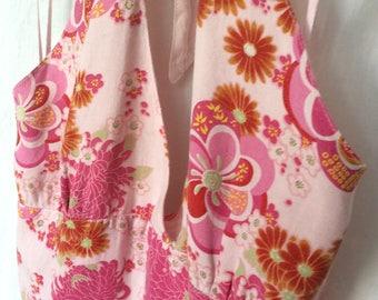Vintage floral linen dress halter size medium boho