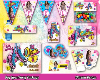 Soy Luna Party Package, Soy Luna Invitation, Printable Soy Luna Party, Digital File Birthday Party - Customized