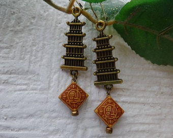 Pagoda Earrings/Asian Earrings/Antique Brass Earrings/Chinese Earrings/Oriental Earrings/Affortable Jewelry/Aretes
