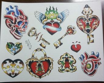 Hearts and Keys: Traditional Tattoo Flash Sheet