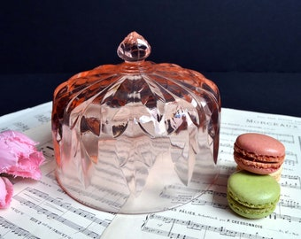 Antique Pink Pressed Glass Dome Vintage French Cheese Bell Plate Cover Food Dome Cloche
