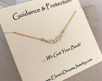 Modern Guardian Angel Gold CZ Wing Necklace. Guidance and protection. Inspirational. Carded Meaningful Necklace.