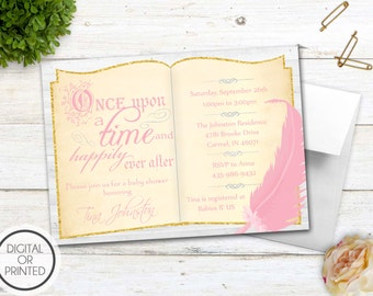 Story Book Baby Shower Invitation, Book Themed Baby Shower Invitation, Once Upon a Time Baby Shower Invitations, Library, Fairy Tale, Girl
