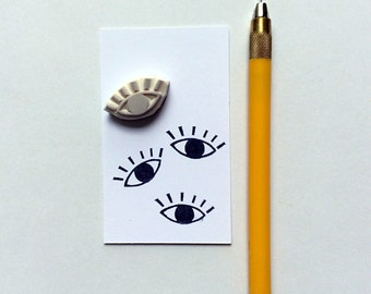 Single eye stamp. Rubber stamp. Hand carved stamp. Mounted