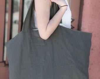 Linen Tyvek Tote bag,  Shoulder Bag with small zippered section  , Linen Tyvek Bag, Large Linen Tyvek Bag, Eco friendly handmade bag,