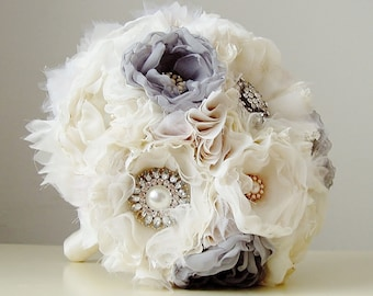 Fabric Wedding Bouquet, Wedding, Brooch Bouquet, Handmade Bridal Bouquet,  Vintage Wedding  Bouquet - this is a 50% DEPOSIT ONLY