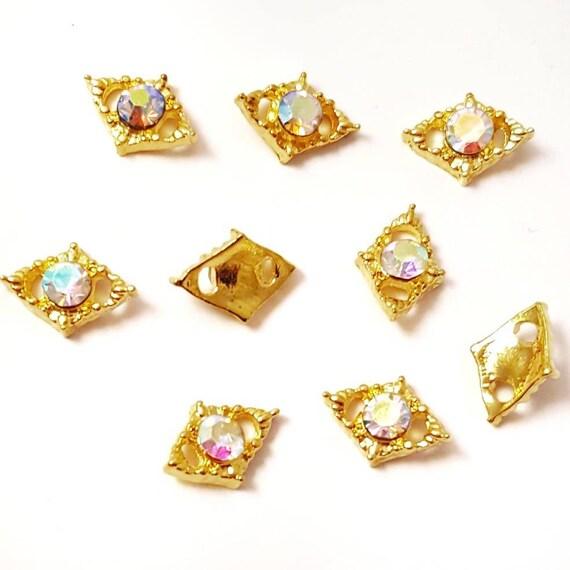 4pc AB Crystal Gold Rhombus Shaped Nail Charms / Nail Jewelry Nail ...