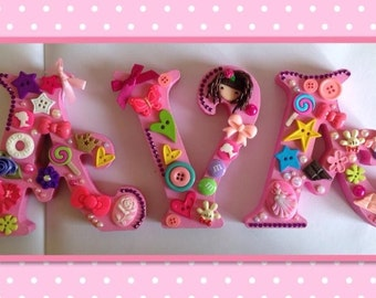 3 x Decorated freestanding wooden letters