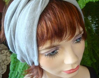 Womens Turban adult Headband pale grey turband wide yoga band workout headwear alopecia