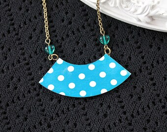 Polka dot sector shaped wooden necklace  bib kawaii sweet lolita teal blue