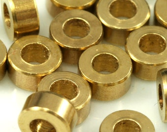 40 Pcs Raw Brass Cylinder 3x6 mm (hole 3 mm) 1650 bab3