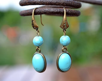 Turquoise bronze earrings, Turquoise cabochon earrings, Turquoise earrings, Blue turquoise earrings, Turquoise drop earrings, Blue earrings