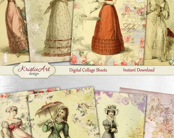 75% OFF SALE A Day in the Garden - Digital Collage Sheet Digital Cards C111 Printable Download Image Digital Atc Card ACEO Flowers Cards