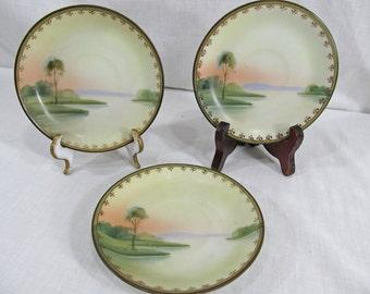 SALE Teacup Saucer x3 Plates Tree Near Lake & Sunset like Noritake China Handpainted Vintage, no mark date unknown Set of Three