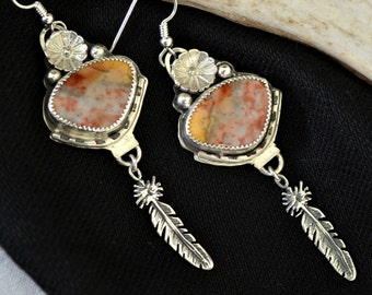 multicolor agate earrings.  Southwestern earrings.