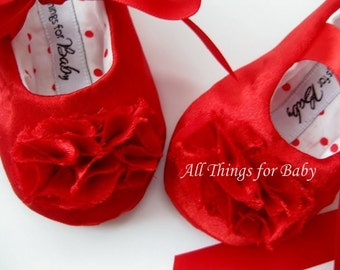 Girls Red Baby Shoes // Christmas shoes toddler girls shoes holiday baby shoes soft soled shoes handmade baby shoes - Runway Red