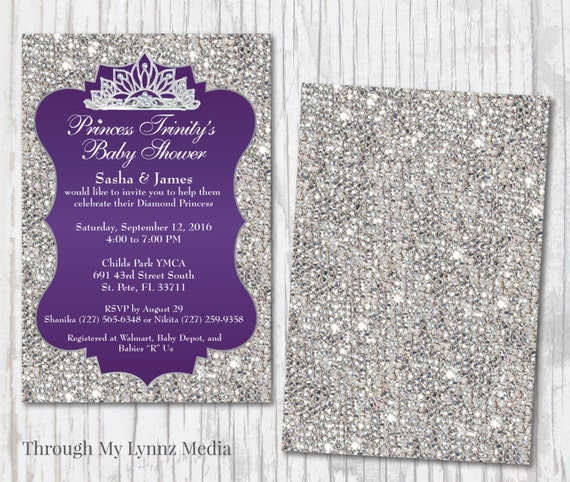 Bling baby shower invitations diamond royalty princess baby bling baby shower invitations diamond royalty princess baby shower royal purple diamonds bling baby shower digital print invitations filmwisefo Choice Image