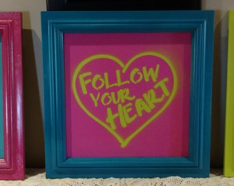 Fun!  Wall Decor 3 Sign set_FIND JOY_FOLLOW YOUR HEART_LIVE SIMPLY_Recycled_FREE SHIP lime green turquoise blue hot pink MOTIVATIONAL