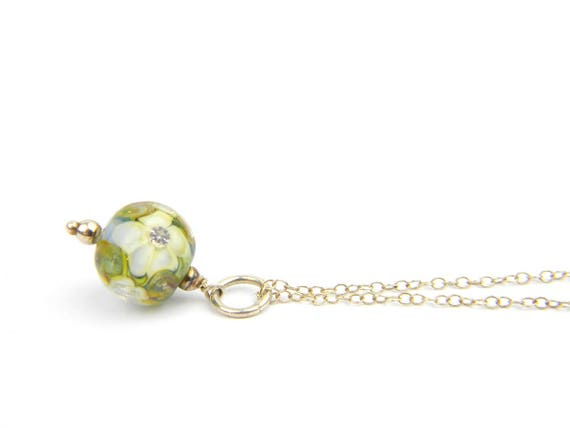 Art Glass Pendant - Small Blue and Yellow Art Glass Bead Sterling Silver Pendant - Classic Collection