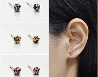 925 Sterling Silver Oxidized Earrings, Rose Earrings, Gold Plated Earrings, Rose Gold Plated Earrings, Stud Earrings (Code : ED47)
