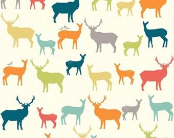 COTTON Yard Elk Grove Elk Family Multi Birch Organic Fabric Deer Fam