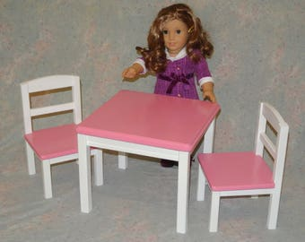 American Girl Doll Furniture Table and 2 Chairs