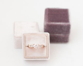 Ring Box - Velvet Ring Box - Vintage Style - Proposal Box - Engagement ring box - Wedding - Personalized Gift -  Almost Mauve - Ash Rose