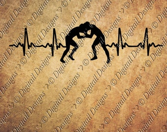 Wrestling EKG Svg Png Dxf Eps Fcm Ai Cut file for Silhouette, Cricut, Scan n Cut Wrestler svg EKG Wrestling Heatbeat