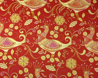 """RICHLOOM FANTASY INDIA Red Quail Bird Floral Cotton Twill Pillow Drapery Craft Light Upholstery Multiuse Fabric By The Yard 54""""Wide #D3311"""