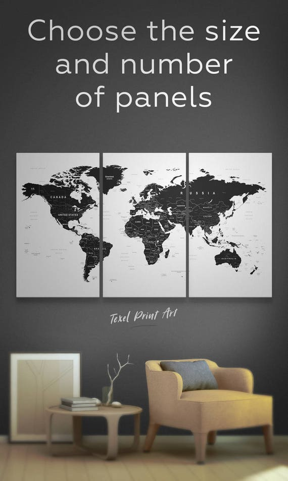 Black world map canvas black and white world map wall art black world map canvas black and white world map wall art black and white art black world map art black map print black white large map gumiabroncs Image collections