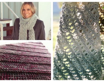 3 Tunisian Crochet Patterns - Bias Sampler Shawl, Lace Summer Scarf, Icelandic Cable Scarf