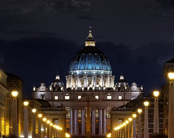 Saint Peter's Basilica Lights, Rome, Italy, Vatican City, The Vatican, Church, Night, Twilight - Travel Photography, Print, Wall Art
