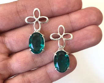 Silver plated Paraiba Tourmaline dangle earrings