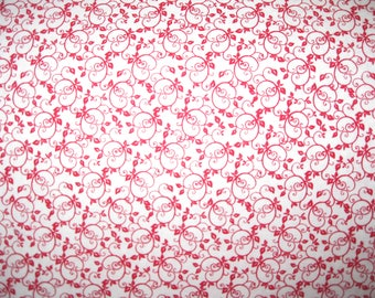 100 percent cotton fabric/red and white/quilting/crafts/apparel/by the yard