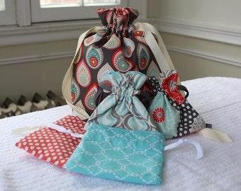 Travel Drawstring Bag Set - Colorful Raindrops