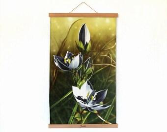 "Himalayan Flower print on organic linen with magnetic holders, Botanical Print, Flower Painting, Botanical Art, 35cm x 55 cm (14""x21,5"")"